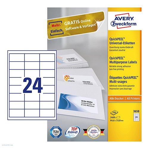 Etikett címke univerzális 3658 QuickPEEL 64,6 x 33,8 mm