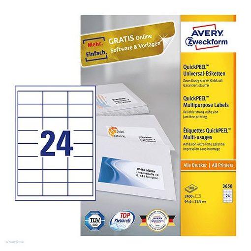 Etikett címke univerzális 3658 QuickPEEL 64,6x33,8mm