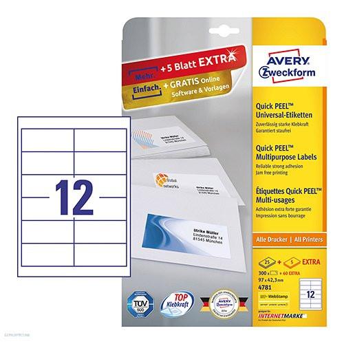Etikett címke univerzális 4781 QuickPEEL 97 x 42,3 mm 25 ív