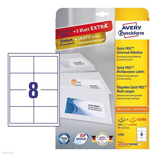 Etikett címke univerzális 4782 QuickPEEL 97 x 67,7 mm