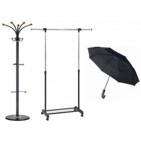 Fogasok, ruhaállványok, akasztók, esernyő