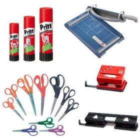 Fűző-, lyukasztógépek, ragasztók, vágóeszközök